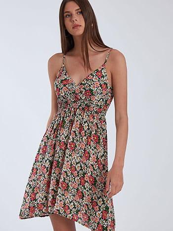 Floral φόρεμα, ρυθμιζόμενες τιράντες, κρουαζέ, σκουρο μπλε