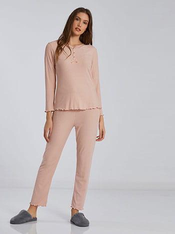 Ριπ σετ πιτζάμας, στρογγυλή λαιμόκοψη, ελαστική μέση, ροζ
