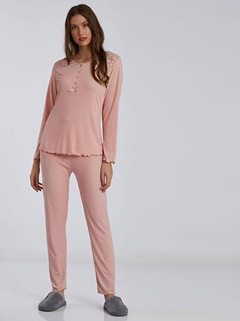 Ριπ σετ πιτζάμας με δαντέλα, στρογγυλή λαιμόκοψη, ελαστική μέση, ροζ