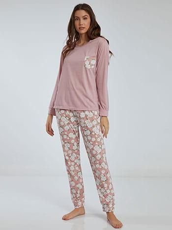 Floral σετ πιτζάμας, στρογγυλή λαιμόκοψη, ελαστική μέση, με τσέπη, σαπιο μηλο