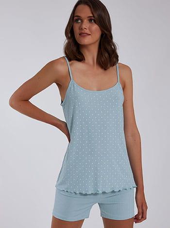 Πουά σετ πιτζάμας, ελαστική μέση, ρυθμιζόμενες τιράντες, aquamarine