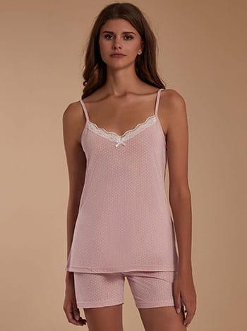 Πουά σετ πιτζάμας, v λαιμόκοψη, ελαστική μέση, ρυθμιζόμενες τιράντες, ροζ