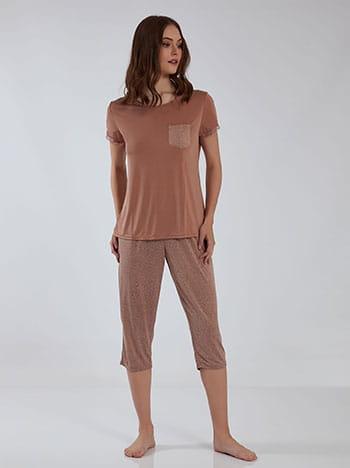 Πουά σετ πιτζάμας, στρογγυλή λαιμόκοψη, με τσέπη, ελαστική μέση, ύφασμα με ελαστικότητα, σαπιο μηλο