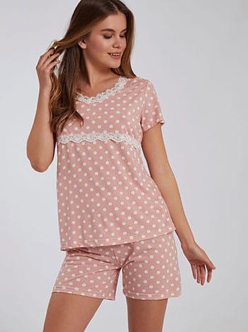 Πουά σετ πιτζάμας, v λαιμόκοψη, ελαστική μέση, ροζ λευκο