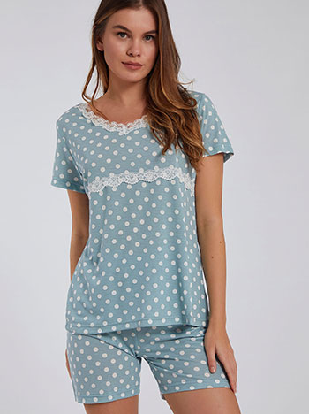 Πουά σετ πιτζάμας, v λαιμόκοψη, ελαστική μέση, aquamarine λευκο