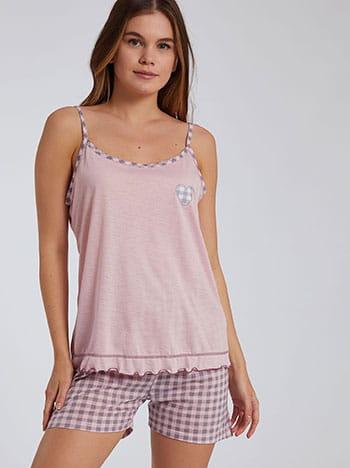 Καρό σετ πιτζάμας, ρυθμιζόμενες τιράντες, ελαστική μέση, ροζ γκρι