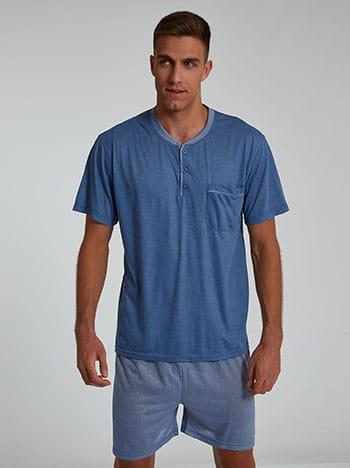 Εμπριμέ ανδρικό σετ πιτζάμας, με κουμπιά, με τσέπη, ελαστική μέση, μπλε ανοιχτο