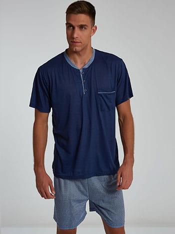 Εμπριμέ ανδρικό σετ πιτζάμας, με κουμπιά, με τσέπη, ελαστική μέση, σκουρο μπλε