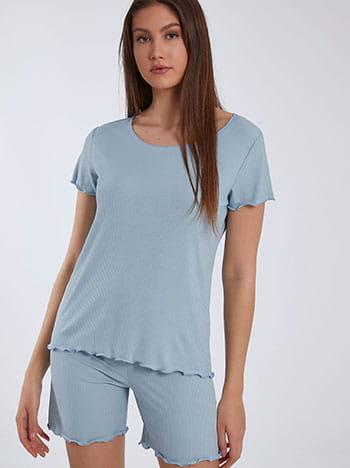 Ριπ σετ πιτζάμας, λαιμόκοψη χαμόγελο, ελαστική μέση, ύφασμα με ελαστικότητα, aquamarine