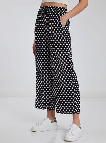 Πουά παντελόνα, ελαστική μέση, με τσέπες, διακοσμητικό κορδόνι, μαυρο λευκο