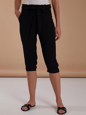 Κάπρι παντελόνι, ελαστική μέση, με τσέπες, μαυρο