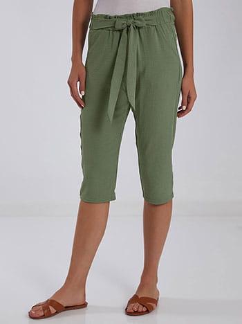 Κάπρι παντελόνι, ελαστική μέση, με τσέπες, χακι