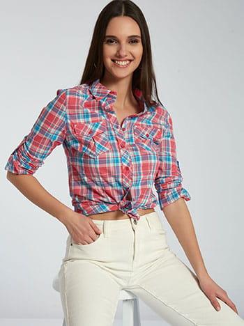 Καρό πουκάμισο από βαμβάκι, με τσέπες, κλασικός γιακάς, κλείσιμο με κουμπιά, γυριστό μανίκι με κουμπί, μιχ 1