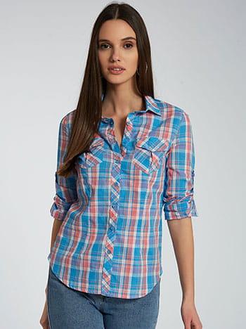 Καρό πουκάμισο από βαμβάκι, με τσέπες, κλασικός γιακάς, κλείσιμο με κουμπιά, γυριστό μανίκι με κουμπί, μιχ 2