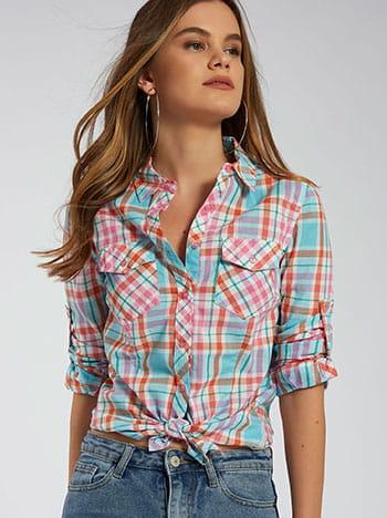 Καρό πουκάμισο με τσέπες, κλασικός γιακάς, κλείσιμο με κουμπιά, γυριστό μανίκι με κουμπί, μιχ 1
