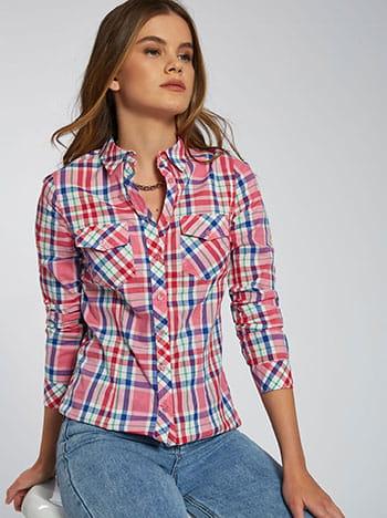 Καρό πουκάμισο με τσέπες, κλασικός γιακάς, κλείσιμο με κουμπιά, γυριστό μανίκι με κουμπί, μιχ 2