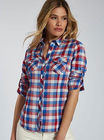 Καρό βαμβακερό πουκάμισο, με τσέπες, κλασικός γιακάς, κλείσιμο με κουμπιά, μιχ 1