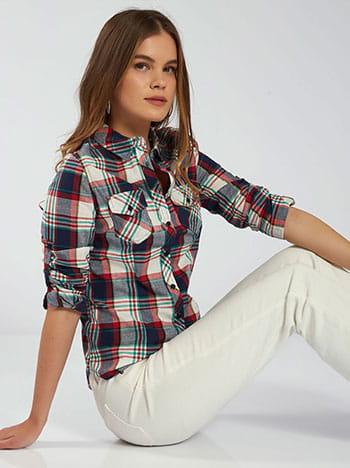Καρό πουκάμισο, με τσέπες, κλασικός γιακάς, κλείσιμο με κουμπιά, γυριστό μανίκι με κουμπί, μιχ 1