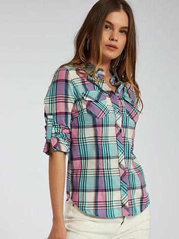 Καρό πουκάμισο, με τσέπες, κλασικός γιακάς, κλείσιμο με κουμπιά, γυριστό μανίκι με κουμπί, μιχ 2