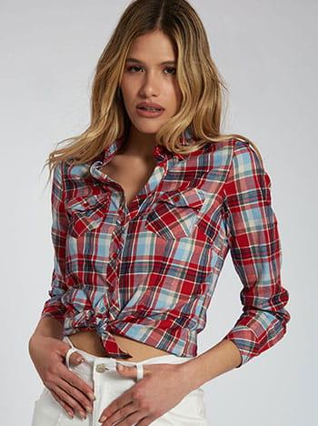 Καρό βαμβακερό πουκάμισο, κλείσιμο με κουμπιά, κλασικός γιακάς, με τσέπες, γυριστό μανίκι με κουμπί, μιχ 2