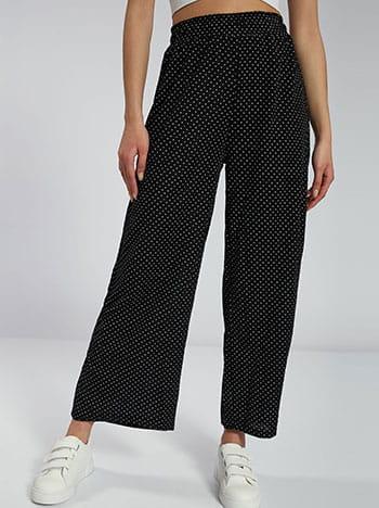 Πουά παντελόνα, ελαστική μέση, εσωτερικό κορδόνι, ύφασμα με ελαστικότητα, μαυρο