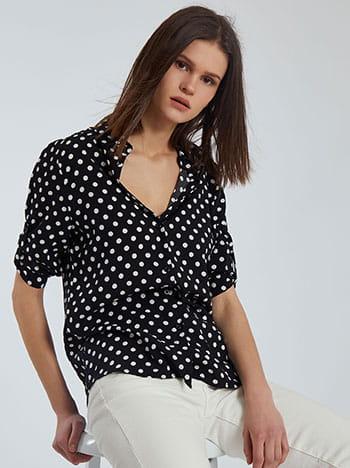 Πουά πουκάμισο, κλείσιμο με κουμπιά, γυριστό μανίκι με κουμπί, μαυρο λευκο