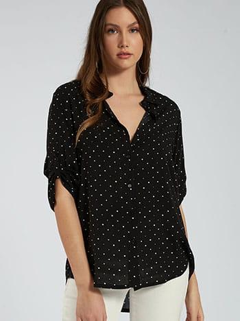 Πουά πουκάμισο, κλείσιμο με κουμπιά, 3/4 μανίκι, γυριστό μανίκι με κουμπί, μαυρο