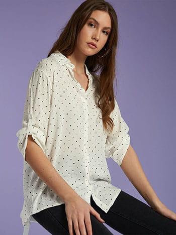 Πουά πουκάμισο, κλείσιμο με κουμπιά, 3/4 μανίκι, γυριστό μανίκι με κουμπί, λευκο