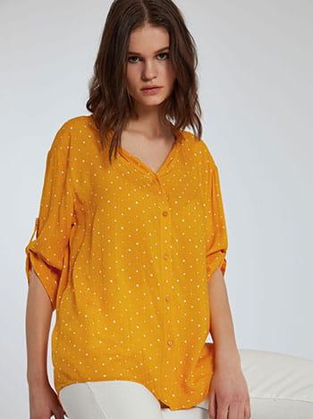 Πουά πουκάμισο, κλείσιμο με κουμπιά, γυριστό μανίκι με κουμπί, 3/4 μανίκι, κιτρινο σκουρο