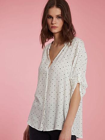 Πουά πουκάμισο, κλείσιμο με κουμπιά, γυριστό μανίκι με κουμπί, 3/4 μανίκι, λευκο