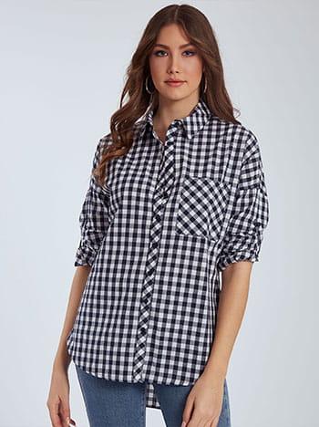 Μακρύ καρό πουκάμισο, κλείσιμο με κουμπιά, κλασικός γιακάς, με τσέπη, μπλε σκουρο λευκο