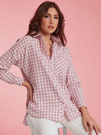 Μακρύ καρό πουκάμισο, κλείσιμο με κουμπιά, κλασικός γιακάς, με τσέπη, λευκο σαπιο μηλο