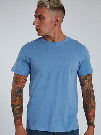 Βαμβακερό ανδρικό t-shirt, στρογγυλή λαιμόκοψη, κοντό μανίκι, γαλαζιο