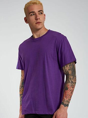 Βαμβακερό ανδρικό t-shirt, στρογγυλή λαιμόκοψη, κοντό μανίκι, μωβ