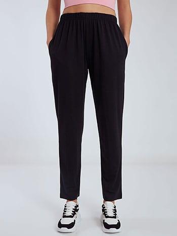 Φόρμα με τσέπες, ελαστική μέση, μαυρο