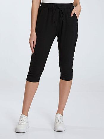 Κάπρι παντελόνι, ελαστική μέση, με τσέπες, διακοσμητικό κορδόνι, μαυρο