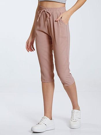 Κάπρι παντελόνι, ελαστική μέση, με τσέπες, διακοσμητικό κορδόνι, σαπιο μηλο