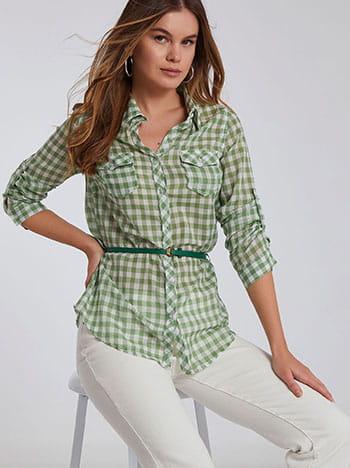 Βαμβακερό καρό πουκάμισο, αποσπώμενη ζώνη, με τσέπες, γυριστό μανίκι με κουμπί, πρασινο λευκο