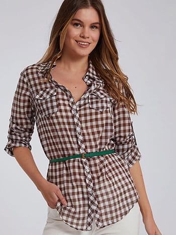 Βαμβακερό καρό πουκάμισο, αποσπώμενη ζώνη, με τσέπες, γυριστό μανίκι με κουμπί, καφε λευκο