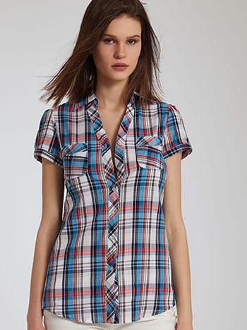 Καρό πουκάμισο με τσέπες, κλασικός γιακάς, κλείσιμο με κουμπιά, μιχ 1