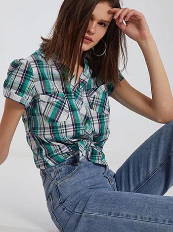Καρό πουκάμισο με τσέπες, κλασικός γιακάς, κλείσιμο με κουμπιά, μιχ 2
