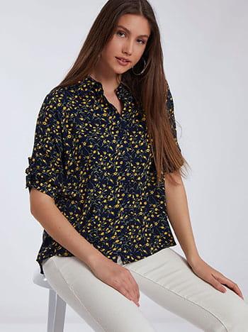 Εμπριμέ πουκάμισο, 3/4 μανίκι, κλείσιμο με κουμπιά, κλασικός γιακάς, γυριστό μανίκι με κουμπί, σκουρο μπλε κιτρινο
