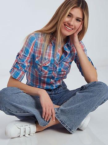Καρό πουκάμισο με τσέπες, κλείσιμο με κουμπιά, κλασικός γιακάς, μιχ 1