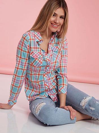 Καρό βαμβακερό πουκάμισο, κλείσιμο με κουμπιά, κλασικός γιακάς, με τσέπες, μιχ 1
