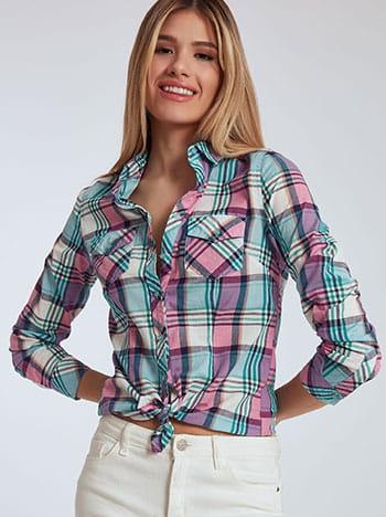 Καρό βαμβακερό πουκάμισο, κλείσιμο με κουμπιά, κλασικός γιακάς, με τσέπες, μιχ 2