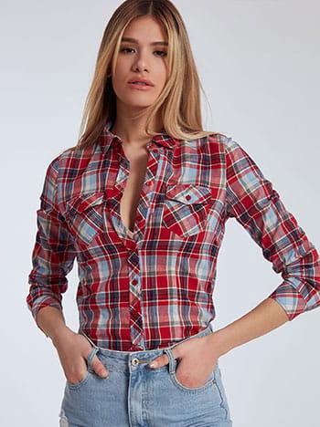 Καρό πουκάμισο, με τσέπες, γυριστό μανίκι με κουμπί, κλασικός γιακάς, μιχ 2