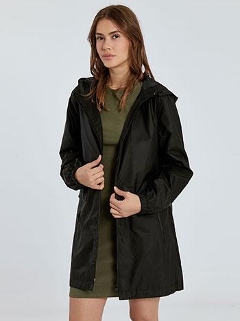 Αδιάβροχο μπουφάν, με κουκούλα, κλείσιμο με φερμουάρ, με τσέπες, μαυρο