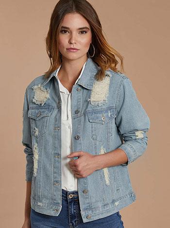 Oversized denim jacket με κέντημα WE1721.6182+1
