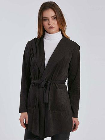 Ελαφρύ παλτό τύπου suede με κουκούλα WE5191.5001+2
