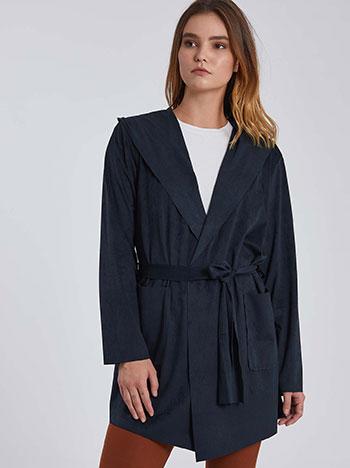 Ελαφρύ παλτό τύπου suede με κουκούλα WE5191.5001+5
